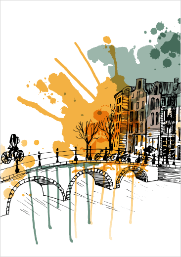 Illustriation Amsterdam of a Canal and bridge. For Park Hotel