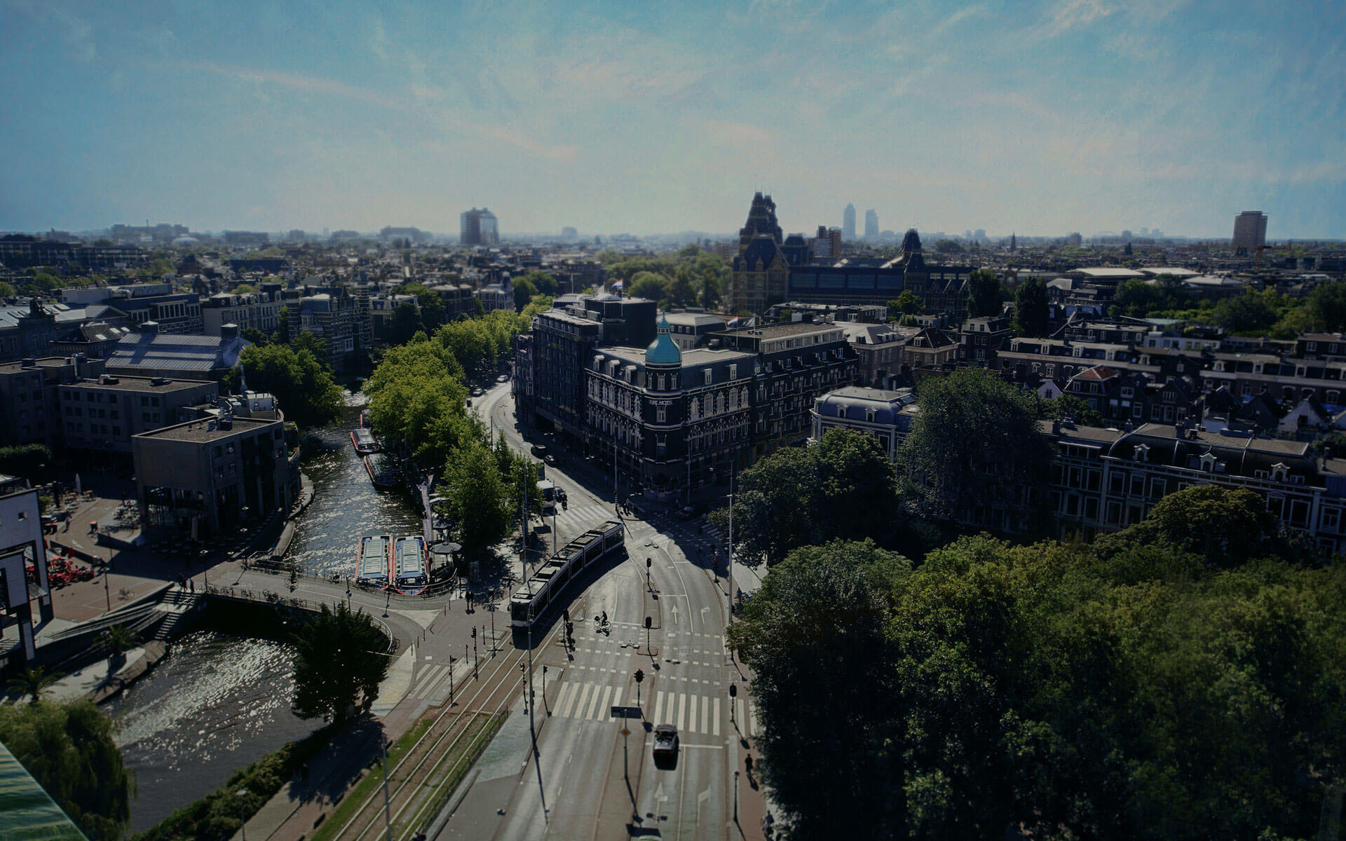 Park Hotel seen from above Central location in Amsterdam topview helicopter view